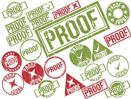 testigo: Colecci�n de 22 sellos de goma del grunge de rojo y verde con el texto ilustraci�n vectorial PRUEBA