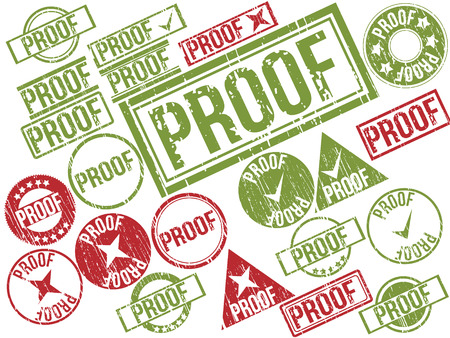 Collection of 22 red and green grunge rubber stamps with text  PROOF    Vector illustration