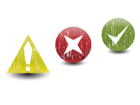 Accept, reject and alert grunge vector icons