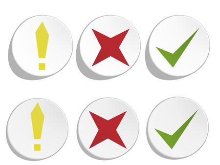 Accept, reject and alert white pushed and released buttons  Vector illustration