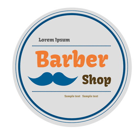 straight razor: Barbel shop label  Vector illustration