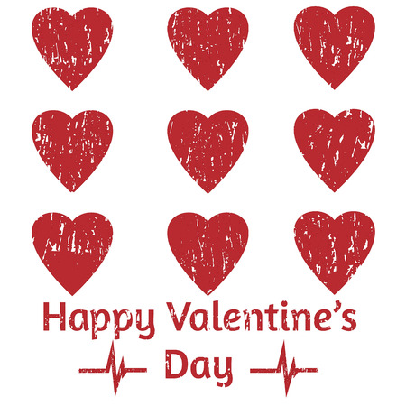 Nine grunge hearts and two grunge pulse diagrams with  Happy Valentine s Day  title for 14 February  Vector illustration Ilustração