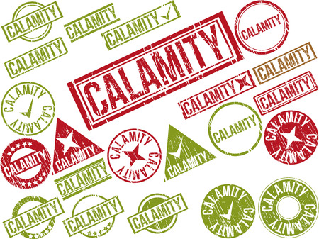 afflict: Collection of 22 red grunge rubber stamps with text  CALAMITY    Vector illustration