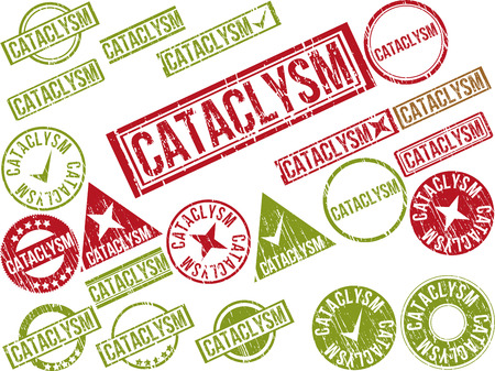 Collection of 22 red grunge rubber stamps with text  CATACLYSM    Vector illustration
