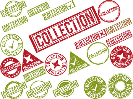 Collection of 22 red grunge rubber stamps with text  COLLECTION    Vector illustration