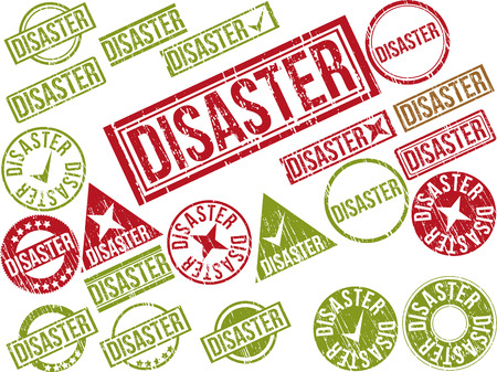 Collection of 22 red grunge rubber stamps with text  DISASTER    Vector illustration Ilustração