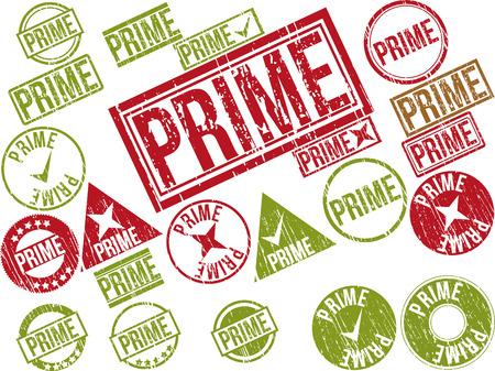 Collection of 22 red grunge rubber stamps with text  PRIME    Vector illustration Ilustração