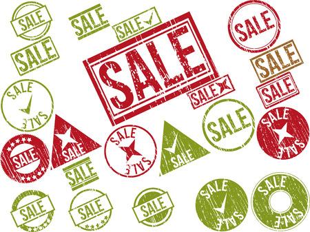 Collection of 22 red grunge rubber stamps with text  SALE    Vector illustration Ilustração