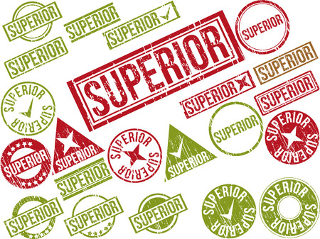 Collection of 22 red grunge rubber stamps with text  SUPERIOR    Vector illustration Ilustração