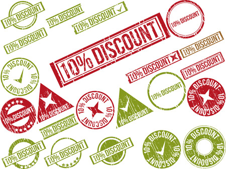 Collection of 22 red grunge rubber stamps with text 10% DISCOUNT . Vector illustration