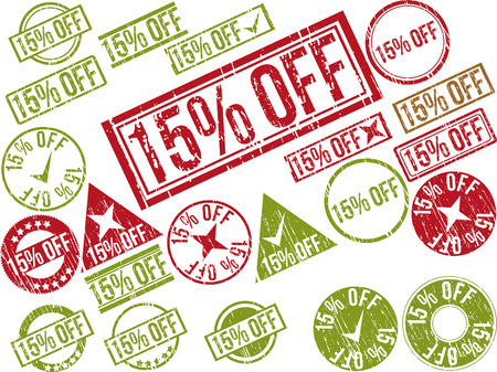 Collection of 22 red grunge rubber stamps with text 15% OFF . Vector illustration