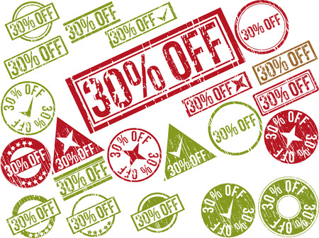 Collection of 22 red grunge rubber stamps with text 30% OFF . Vector illustration