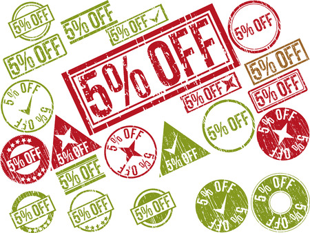 Collection of 22 red grunge rubber stamps with text 5% OFF . Vector illustration