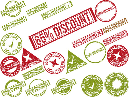 Collection of 22 red grunge rubber stamps with text 65% DISCOUNT . Vector illustration