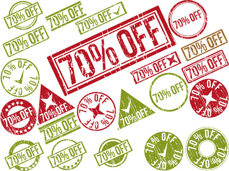 Collection of 22 red grunge rubber stamps with text 70% OFF . Vector illustration Ilustração
