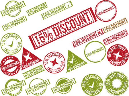 deduction: Collection of 22 red grunge rubber stamps with text  15  DISCOUNT    Vector illustration