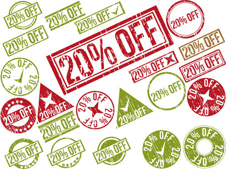 Collection of 22 red grunge rubber stamps with text  20  OFF    Vector illustration Ilustração