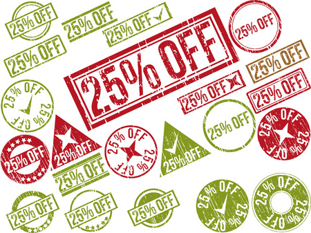Collection of 22 red grunge rubber stamps with text  25  OFF    Vector illustration