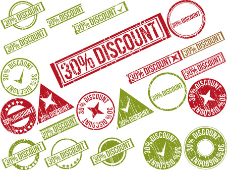 Collection of 22 red grunge rubber stamps with text  30  DISCOUNT    Vector illustration