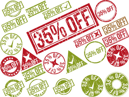 Collection of 22 red grunge rubber stamps with text  35  OFF    Vector illustration Ilustração