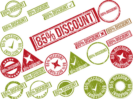Collection of 22 red grunge rubber stamps with text 85% DISCOUNT . Vector illustration Ilustração