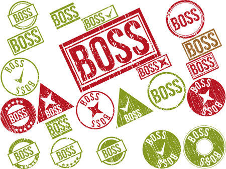 Collection of 22 red grunge rubber stamps with text BOSS . Vector illustration