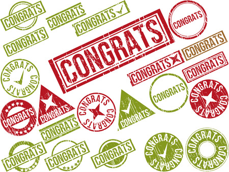 adulation: Collection of 22 red grunge rubber stamps with text CONGRATS . Vector illustration Illustration