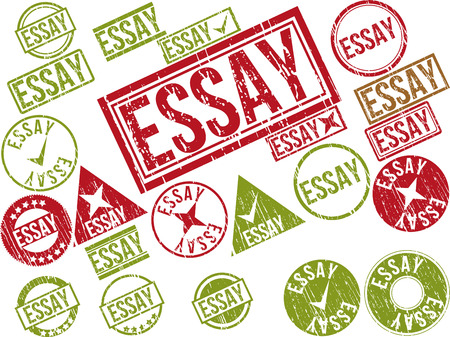 monograph: Collection of 22 red grunge rubber stamps with text ESSAY . Vector illustration