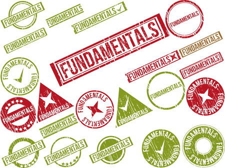 Collection of 22 red grunge rubber stamps with text FUNDAMENTALS . Vector illustration