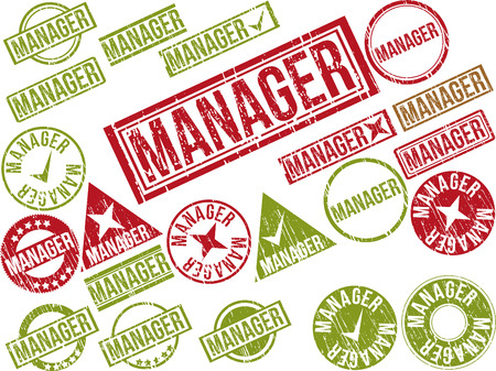 gaffer: Collection of 22 red grunge rubber stamps with text MANAGER . Vector illustration
