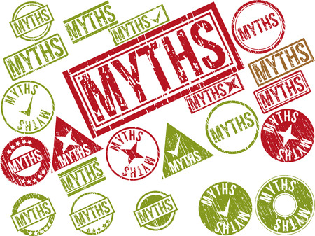 misconception: Collection of 22 red grunge rubber stamps with text MYTHS . Vector illustration