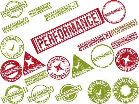 rendition: Collection of 22 red grunge rubber stamps with text PERFORMANCE . Vector illustration