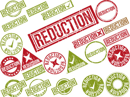 Collection of 22 red grunge rubber stamps with text REDUCTION . Vector illustration