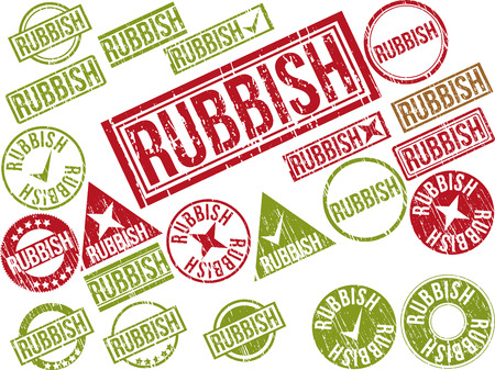 Collection of 22 red grunge rubber stamps with text RUBBISH . Vector illustration