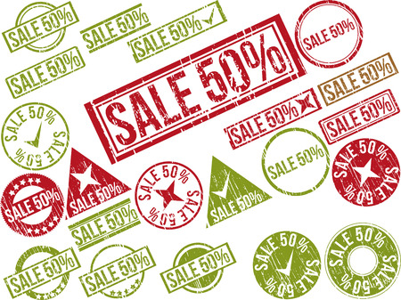 Collection of 22 red grunge rubber stamps with text SALE 50% . Vector illustration Ilustração