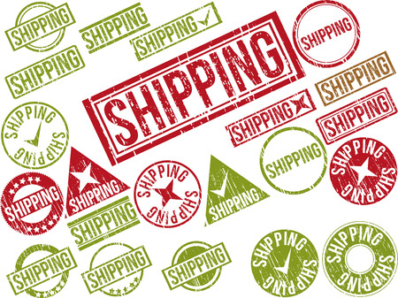 Collection of 22 red grunge rubber stamps with text SHIPPING . Vector illustration