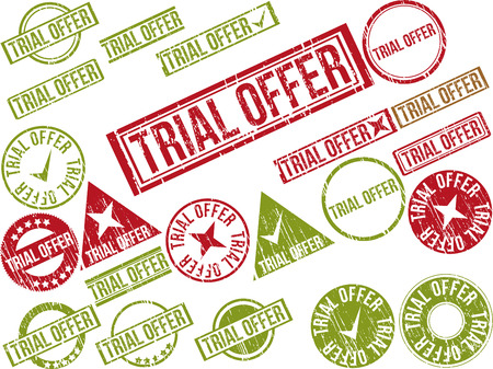 Collection of 22 red grunge rubber stamps with text TRIAL OFFER . Vector illustration Vector