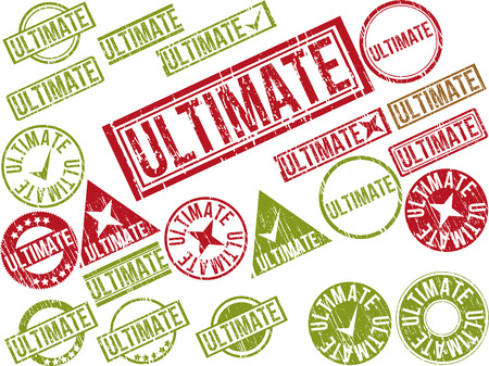 concluding: Collection of 22 red grunge rubber stamps with text ULTIMATE . Vector illustration