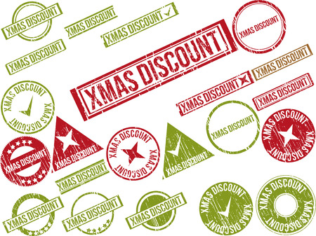 christmastide: Collection of 22 red grunge rubber stamps with text XMAS DISCOUNT . Vector illustration
