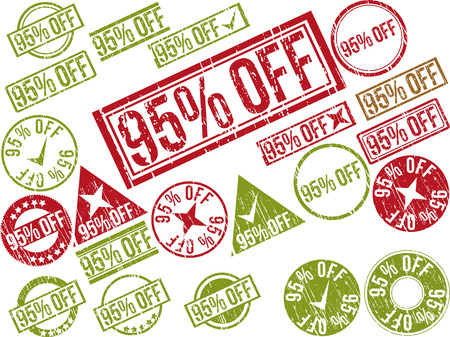 Collection of 22 red grunge rubber stamps with text 95% OFF . Vector illustration Ilustração