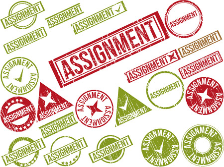 assignment: Collection of 22 red grunge rubber stamps with text ASSIGNMENT . Vector illustration