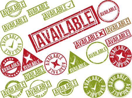 Collection of 22 red grunge rubber stamps with text AVAILABLE . Vector illustration Ilustração