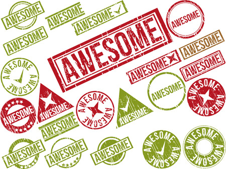 stupendous: Collection of 22 red grunge rubber stamps with text AWESOME . Vector illustration