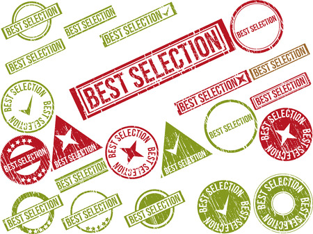 Collection of 22 red grunge rubber stamps with text BEST SELECTION . Vector illustration Ilustração
