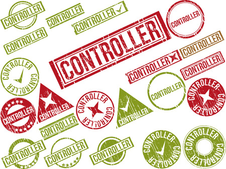 Collection of 22 red grunge rubber stamps with text CONTROLLER . Vector illustration Ilustração