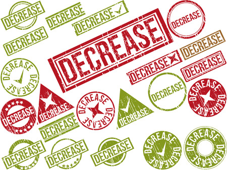 lowering: Collection of 22 red grunge rubber stamps with text DECREASE . Vector illustration
