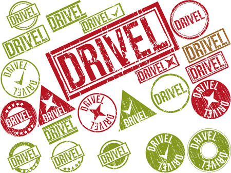 Collection of 22 red grunge rubber stamps with text DRIVEL . Vector illustration