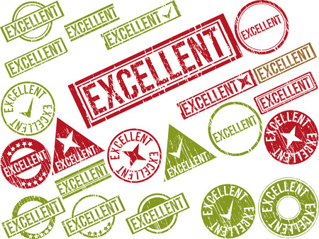 preeminent: Collection of 22 red grunge rubber stamps with text EXCELLENT . Vector illustration