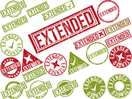 Collection of 22 red grunge rubber stamps with text EXTENDED . Vector illustration Illustration