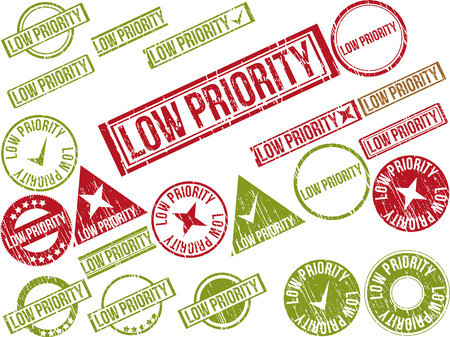 precedence: Collection of 22 red grunge rubber stamps with text LOW PRIORITY . Vector illustration